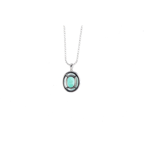 382 - An emerald and diamond pendant. The oval-shape emerald, with brilliant-cut diamond surround, suspend...