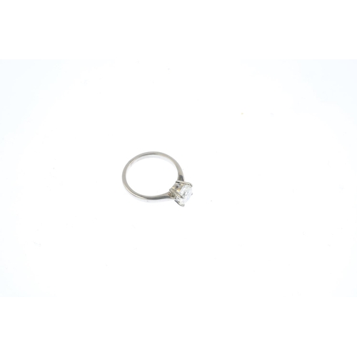 383 - An 18ct gold diamond single-stone ring. The brilliant-cut diamond, weighing 1.32cts, with tapered sh...
