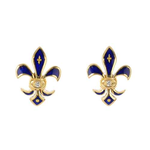 428 - FABERGE - a pair of diamond and enamel earrings. Each designed as a guilloche blue enamel fleur-de-l...