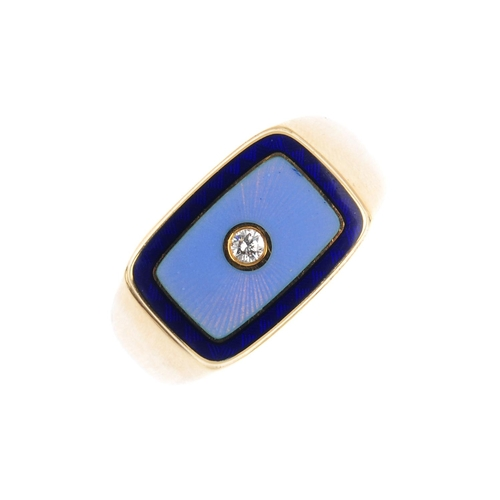 430 - FABERGE - a diamond and enamel ring. The brilliant-cut diamond, inset to the guilloche blue enamel c...