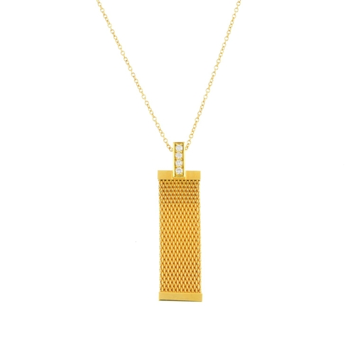 440 - TIFFANY & CO. - a diamond 'Somerset' pendant. The mesh-link panel, with brilliant-cut diamond line s...