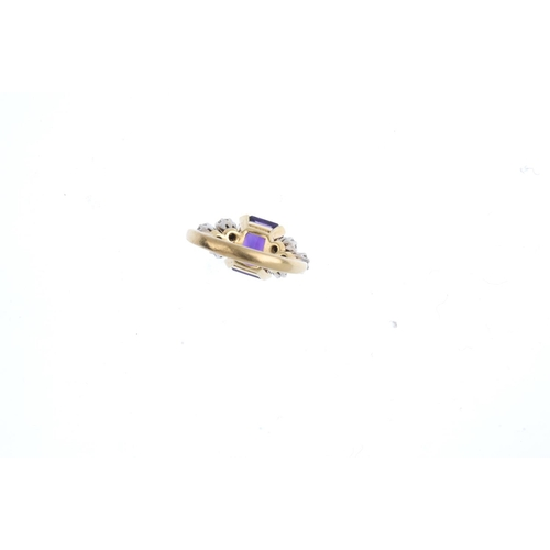 453 - An amethyst and diamond ring. The rectangular-shape amethyst, with brilliant-cut diamond trefoil sid...