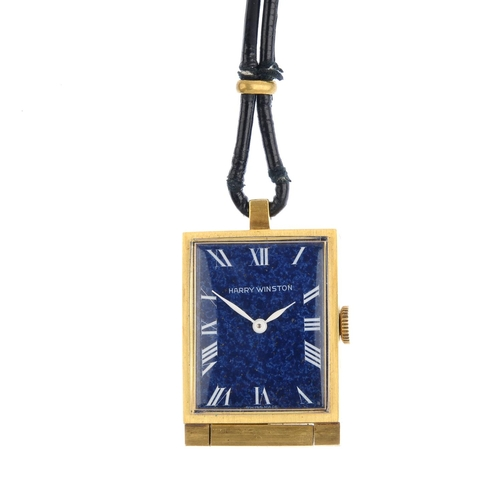 487 - HARRY WINSTON - a mid 20th century travel watch. Of rectangular outline, the blue enamel dial, with ...