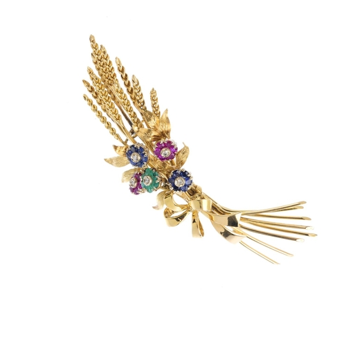 490 - TIFFANY & CO. - a mid 20th century 18ct gold, diamond and gem-set floral brooch. Designed as a serie...
