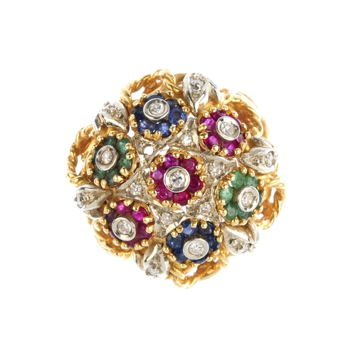 506 - A diamond and gem-set ring. Comprising a series of sapphire, emerald, ruby and diamond floral cluste...