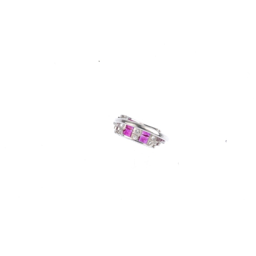 7 - A diamond and ruby dress ring. Designed as a series of alternating square-shape ruby and brilliant-c...