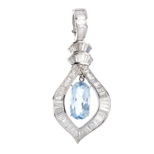 72 - An aquamarine and diamond pendant. The oval-shape aquamarine, suspended within a tapered-baguette-cu...