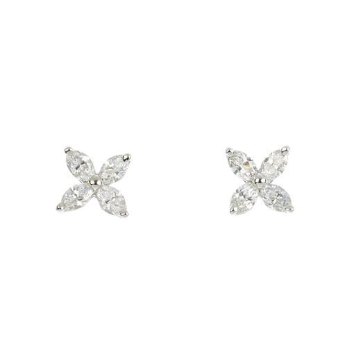 85 - TIFFANY & CO. - a pair of platinum and diamond 'Victoria' earrings. Each designed as a marquise-shap...