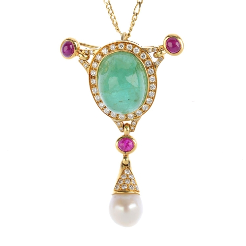 99 - VOURAKIS - a ruby, emerald, cultured pearl and diamond pendant. The oval emerald cabochon, with bril...