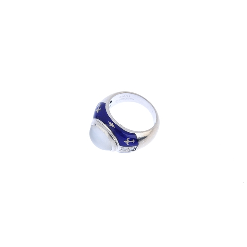 431 - FABERGE - a moonstone, diamond and enamel ring. The oval moonstone cabochon, with brilliant-cut diam...