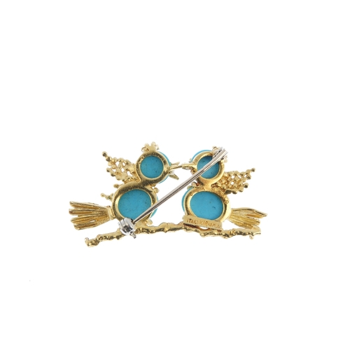 491 - VAN CLEEF & ARPELS - a mid 20th century turquoise brooch. Designed as two turquoise cabochon birds, ...