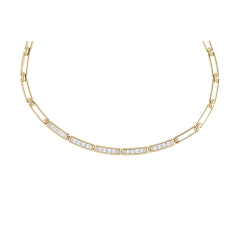 94 - TIFFANY & CO. - a diamond necklace. Comprising a series of brilliant-cut diamond curved links, with ...