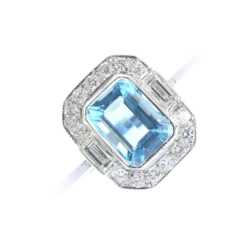 136 - An aquamarine and diamond dress ring. The rectangular-shape aquamarine, with brilliant and baguette-...