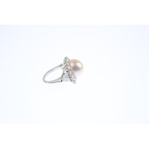 139 - GRAFF - a South Sea cultured pearl and diamond ring. The cultured pearl, measuring approximately 14....