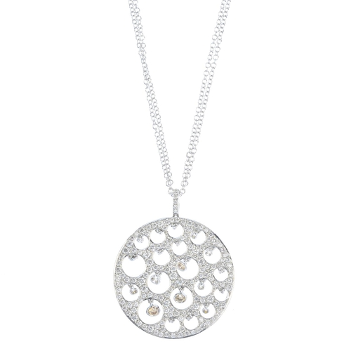 142 - A diamond pendant. Designed as a series of vari-size brilliant-cut diamond collets, all suspended wi...