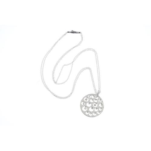 142 - A diamond pendant. Designed as a series of vari-size brilliant-cut diamond collets, all suspended wi...