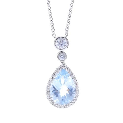 148 - An aquamarine and diamond pendant. The pear-shape aquamarine, with brilliant-cut diamond surround, s...