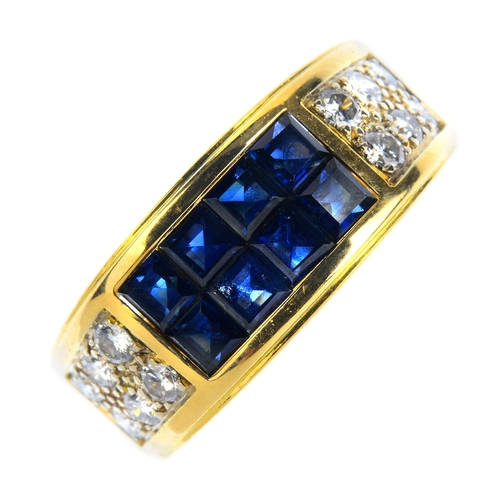 150 - CARTIER - a sapphire and diamond ring. The calibre-cut sapphire rectangular panel, with pave-set dia...