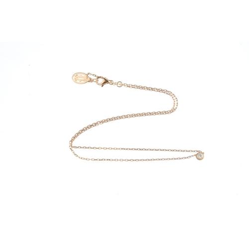 151 - CARTIER - a 'Diamants Legers' diamond single-stone necklace. The brilliant-cut diamond, with collet ...