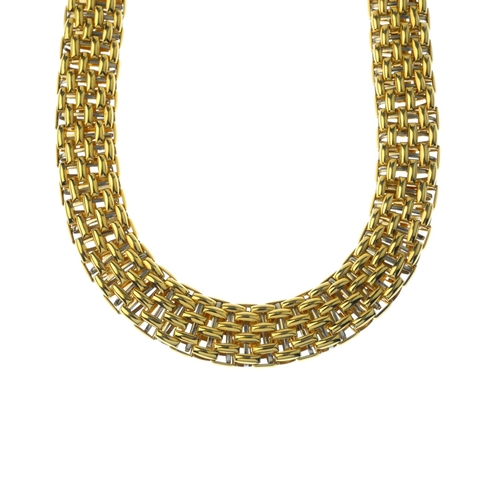 154 - DAVID MORRIS - an 18ct gold necklace. The brick-link chain, with push-piece clasp. Maker's marks for...