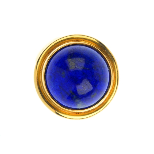 155 - GEORG JENSEN - a 1960s 18ct gold lapis lazuli ring. The circular lapis lazuli cabochon collet, with ...