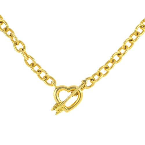 158 - TIFFANY & CO. - an 18ct gold necklace. The belcher-link chain, with heart and arrow toggle clasp. Si...