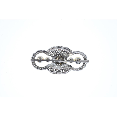 162 - A cultured pearl and diamond brooch. The vari-size cultured pearl line, with pave-set diamond and pi...