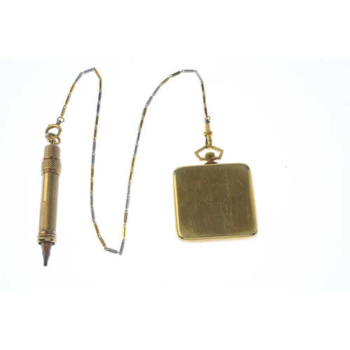 169 - An Art Deco gold pocket watch chain and 9ct gold pencil. The rectangular-shape pocket watch with sil...