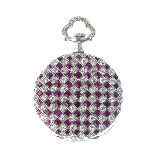 170 - TIFFANY & CO. - an early 20th century platinum, diamond and ruby fob watch. The silvered and texture...