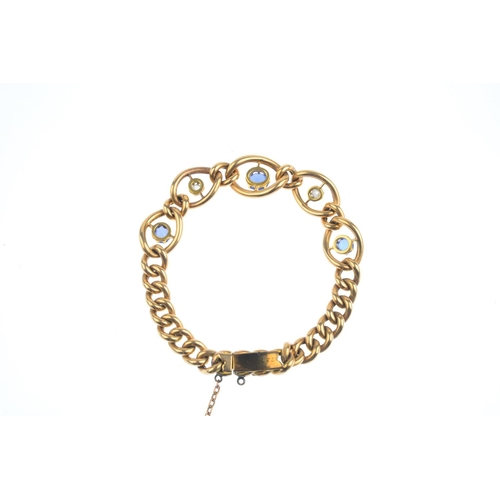 171 - A late Victorian 15ct gold sapphire and diamond bracelet. The alternate graduated vari-shape sapphir...