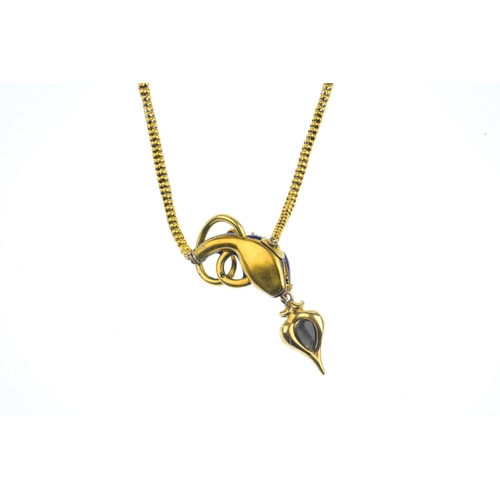 178 - A mid Victorian gold, enamel and gem-set snake necklace. The blue enamel head and scrolling tail, wi...