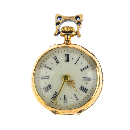 184 - An early 20th century gold, sapphire and diamond fob watch. The circular enamel dial, with circular-...