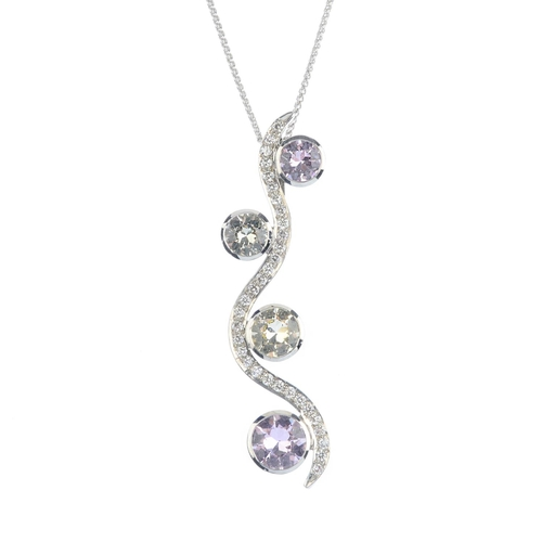 188 - An 18ct gold sapphire and diamond pendant. Comprising four graduated pink, green and yellow sapphire...