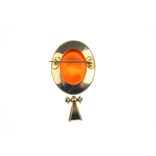 204 - A mid Victorian gold, hardstone cameo and enamel pendant, circa 1870. The sardonyx cameo carved to d...