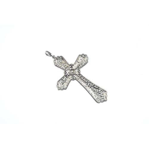 56 - A diamond pendant. Of openwork design, the brilliant-cut diamond cross, with similarly-cut diamond c...
