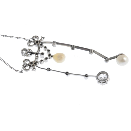 65 - An Edwardian Belle Epoque platinum, natural pearl and diamond negligee. The old and rose-cut diamond...