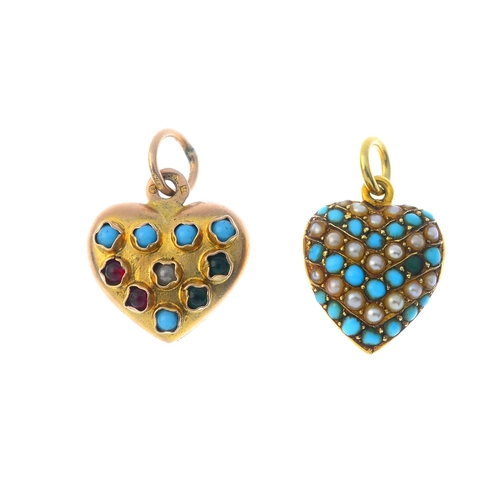 70 - Two gem-set pendants. To include a late Victorian 15ct gold circular turquoise cabochon and split pe...