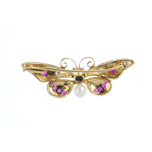 8 - A diamond, ruby and enamel butterfly brooch. The cultured pearl and brilliant-cut diamond body, to t...