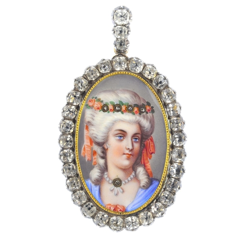 80 - A 19th century enamel and paste locket. The oval-shape painted enamel portrait miniature, depicting ...
