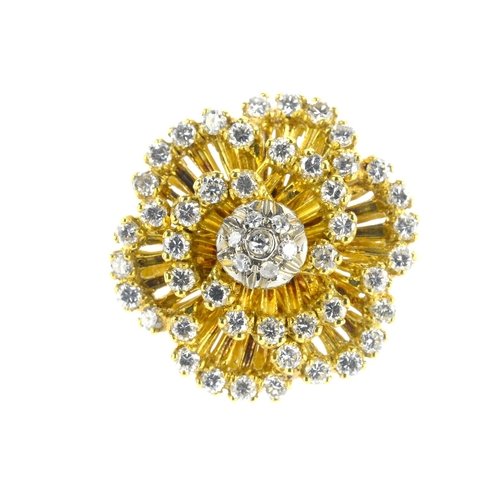 85 - A diamond floral cluster ring. The single-cut diamond cluster, with brilliant-cut diamond openwork p...