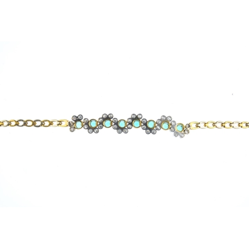 98 - A synthetic emerald and diamond necklace. The circular-shape synthetic emerald line, with brilliant-...