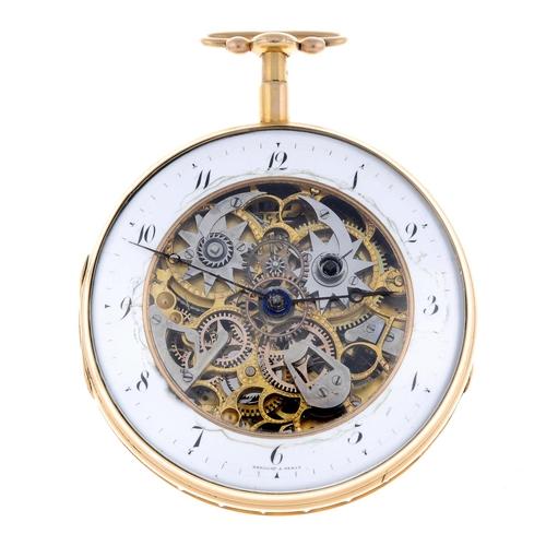 An open face quarter repeater pocket watch signed Breguet