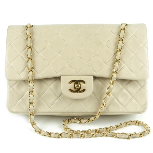 37 - CHANEL - a vintage Medium Classic Double Flap handbag. Featuring  maker s beige quilted 4a48f53b7755a