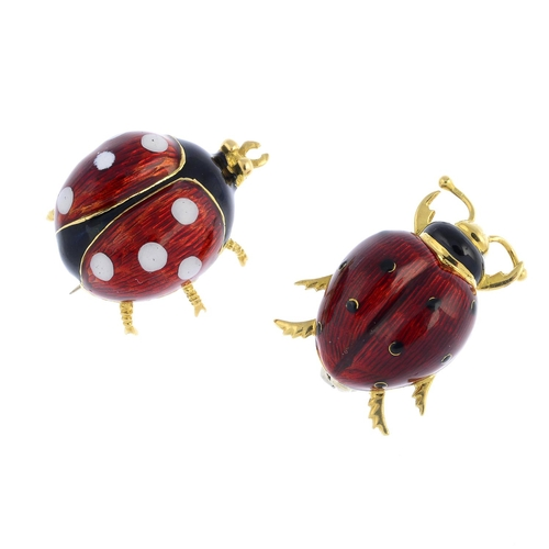 36 - Two enamel insect brooches. The first designed as a lady bird with red, white and black enamel back,...