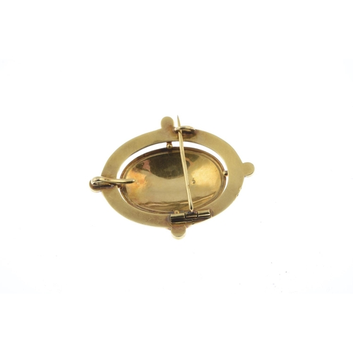 41 - A late Victorian 18ct gold enamel, diamond and split pearl brooch. Of oval outline, the rose-cut dia...