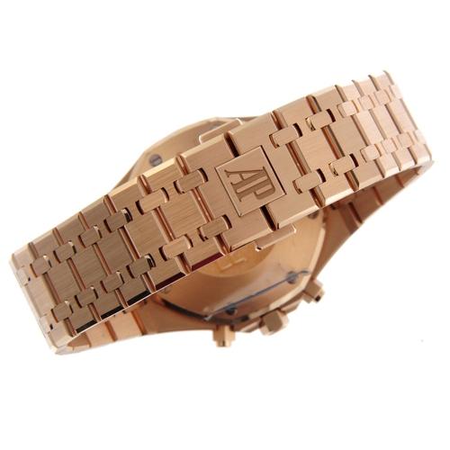 5 - AUDEMARS PIGUET - a gentleman's Royal Oak chronograph bracelet watch. 18ct rose gold case. Reference...