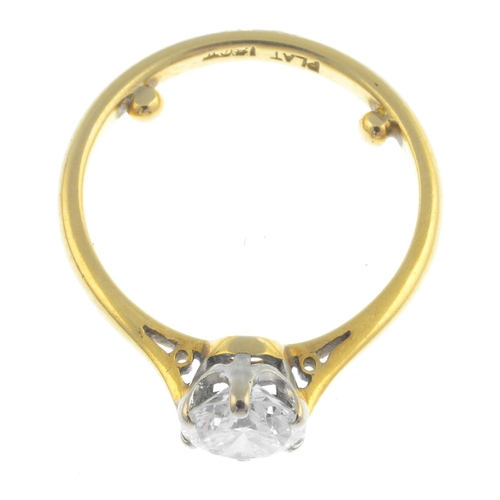1 - A diamond single-stone ring. The brilliant-cut diamond, with tapered shoulders. Estimated diamond we...