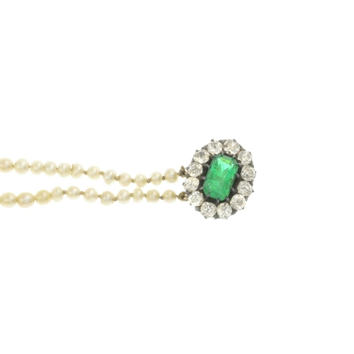 23 - A pearl three-strand necklace. The graduated pearl strands, to the rectangular-shape emerald and old...