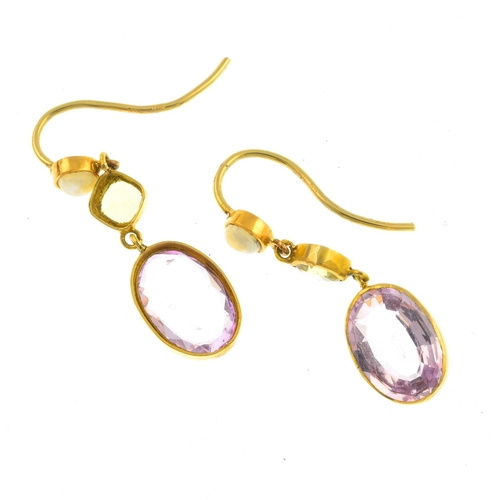 42 - A pair of gem-set earrings. Each designed as an oval-shape pink topaz collet, suspended from a cushi...