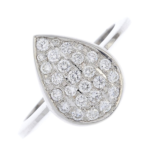 47 - An 18ct gold diamond dress ring. The pave-set diamond, pear-shape panel, with tapered band. Estimate...
